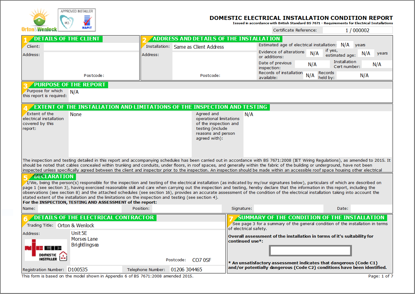 Electrical Installation Condition Reports